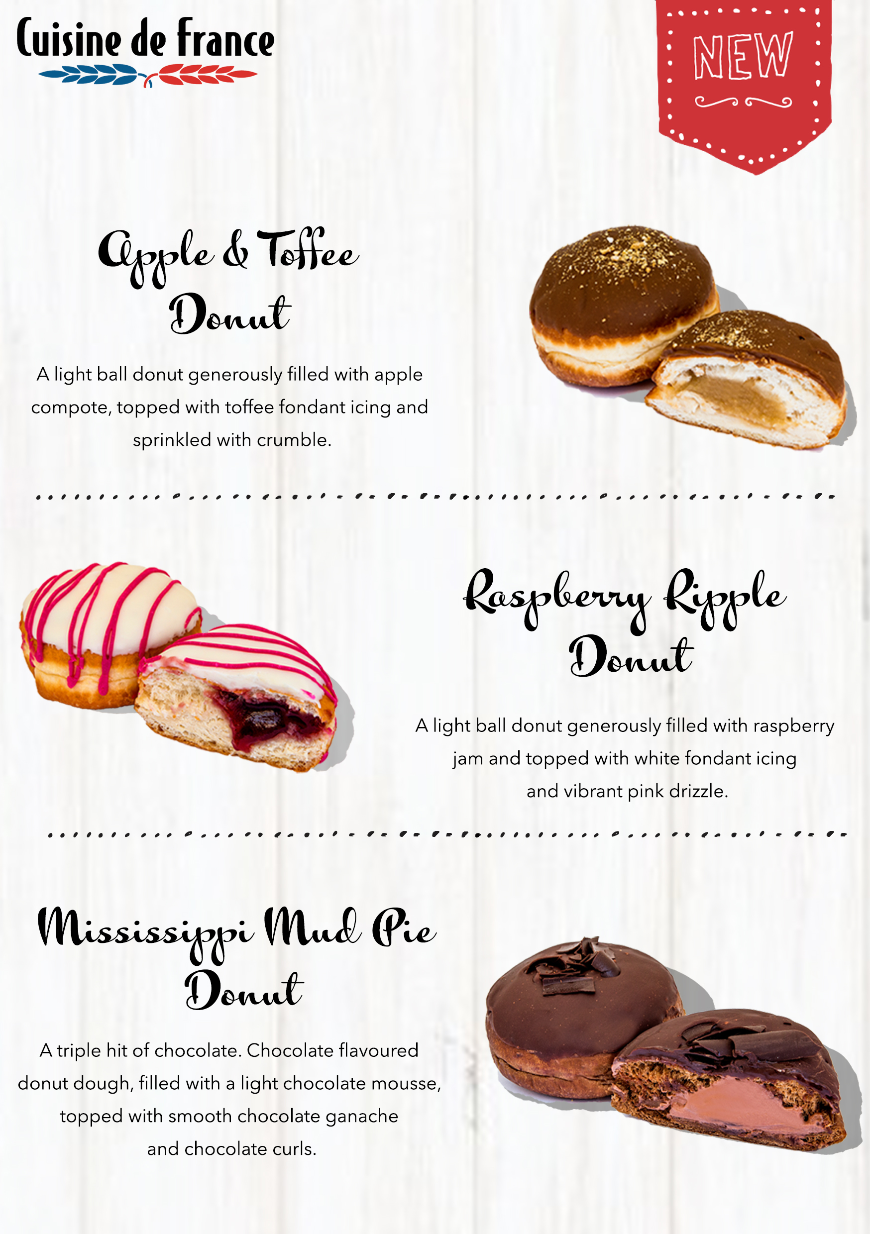 Description of the three new flavour filled donuts